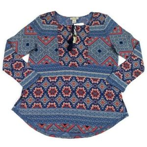 Lucky Brand Multicolor Long Sleeve Peasant Blouse
